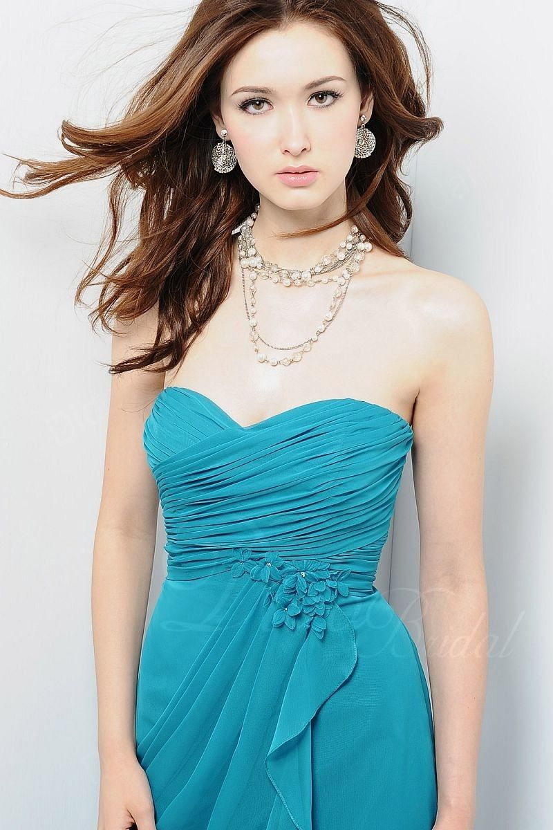 Starbox USA S6127 Sweetheart Neck Ruched Bodice Chiffon