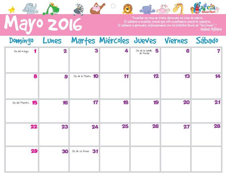 planeador mayo 2016  organiza tus eventos y no los olvides