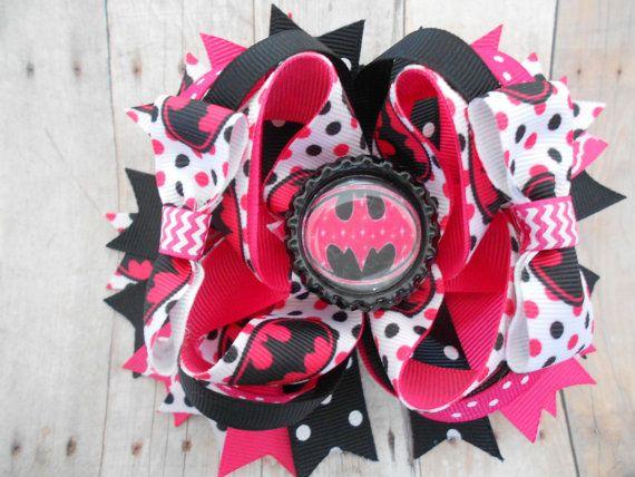 Pink Batman Boutique Hair Bow Batgirl Boutique Hair Bow
