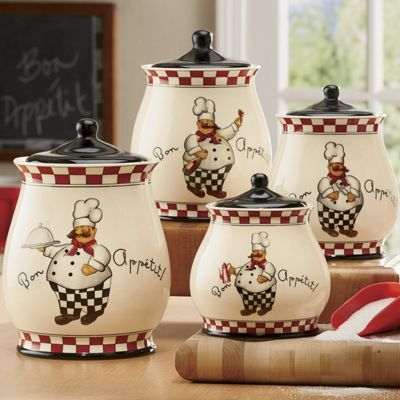Wonderful Bon Appetit Chef 4 Piece Canister Set