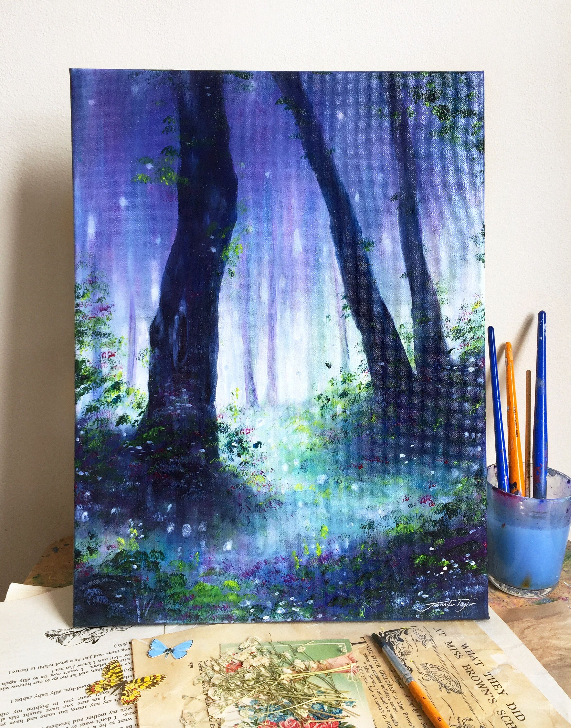 The Woodland Way Original Enchanting Forest Woodland Painting A