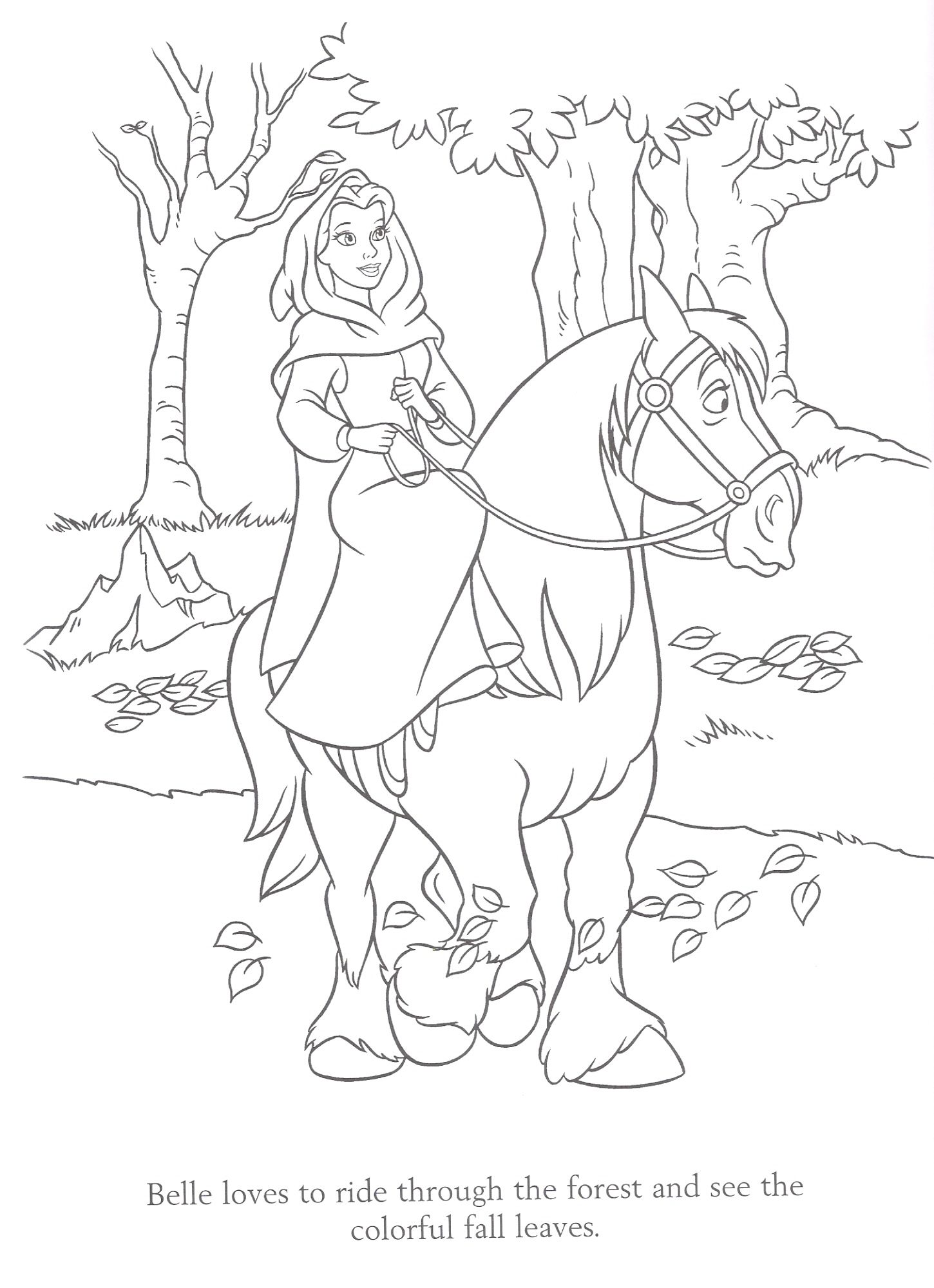 Belle On A Fall Ride Disney Coloring Pages Horse Coloring Pages Belle Coloring Pages