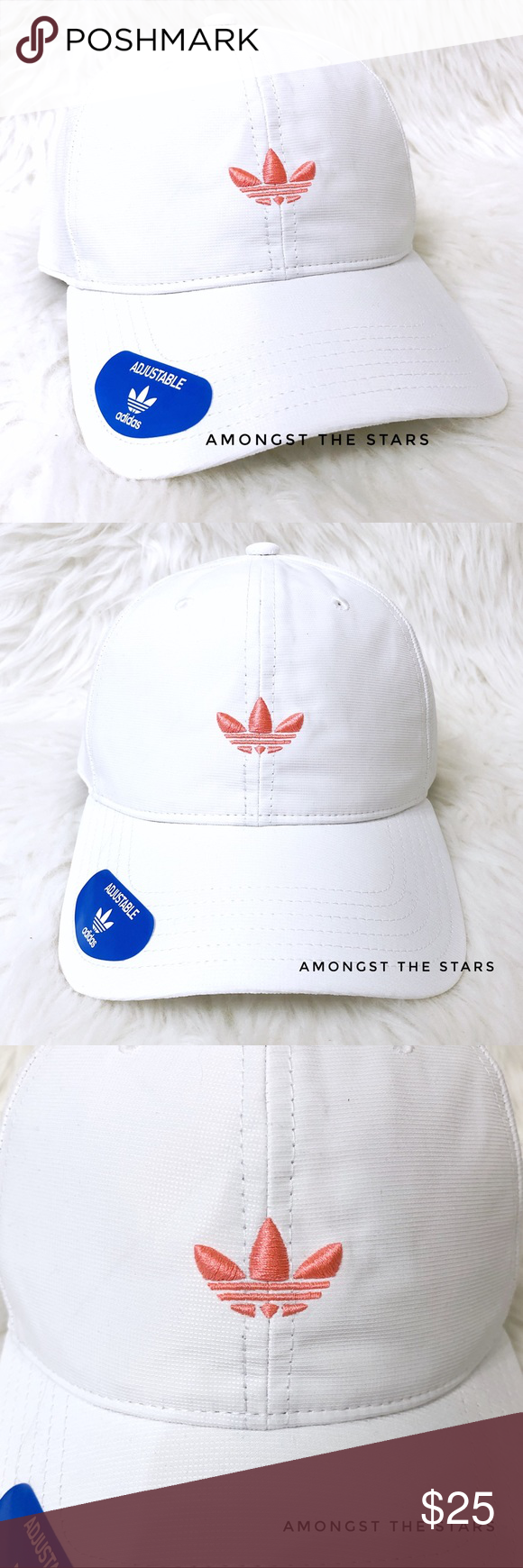 5e72bb350e7 adidas Relaxed Modern White Coral Strapback Hat Brand new