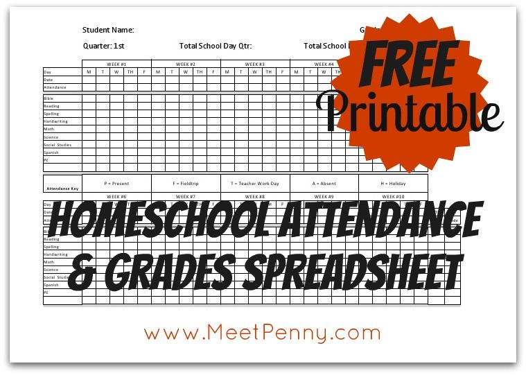 Homeschool Attendance and Grades Printable Attendance, Chart and - printable attendance chart