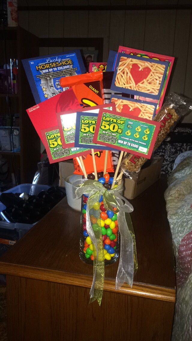 Ultimate Father's Day bouquet! Lottery tickets candy and