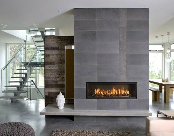 moderne-feuerstelle-im-haus - graue steinwand und feuer - wie ... - Moderne Steinwande Wohnzimmer