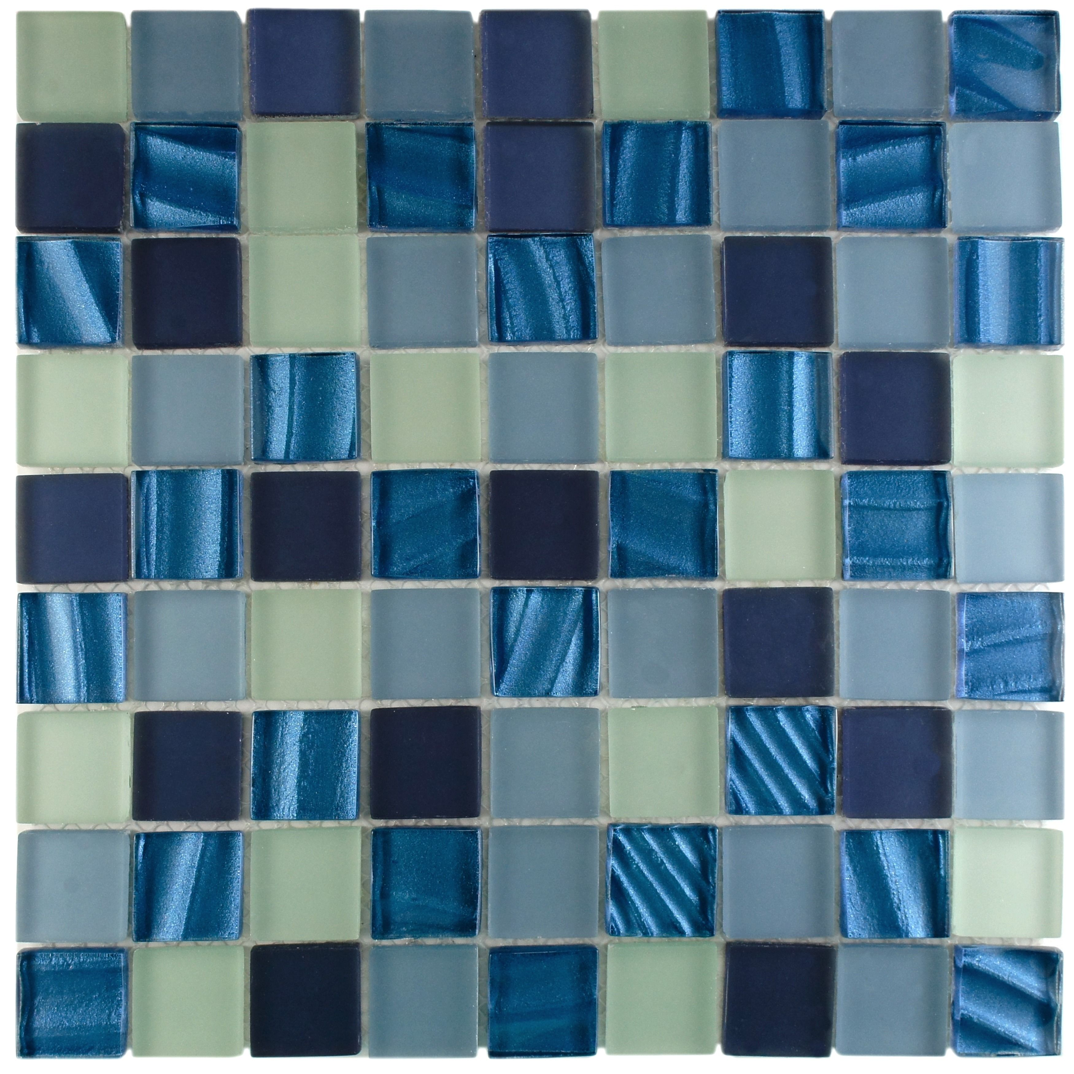 The elegant and gorgeous appeal of blue mosaic wall tiles makes the perfect addition to any room. Featuring a beautiful blend of frosted blue tiles and rippled pearl blues, this sophisticated wall tile will liven the decor of any room.