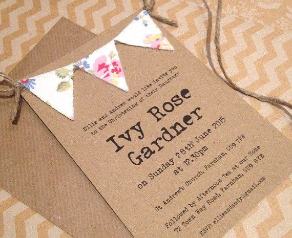 Handmade Christening Invitations - Bunting Baptism Invite - Shabby - naming ceremony invitation