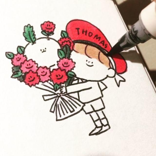 """좋아요 471개, 댓글 11개 - Instagram의 토마쓰리_이정환29+1(@thomas_leeeeee)님: """"이제 꽃들이 세상에 넘쳐나겠죠? 꽃을 머리에 꽂은 비숑인 꽃아지와 꽃아지와 함께인 토마쓰를 그려보았습니다 - -  #토마쓰리 #토마쓰와로니…"""""""
