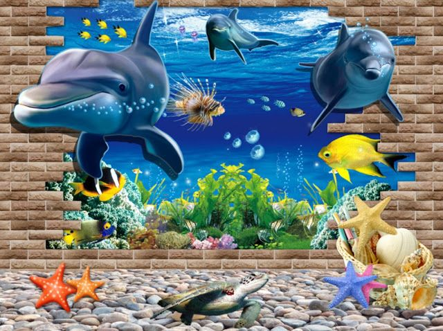 Technology - Tecnología: 3D Blue Sea World Dolphin Removable Wall Sticker W...