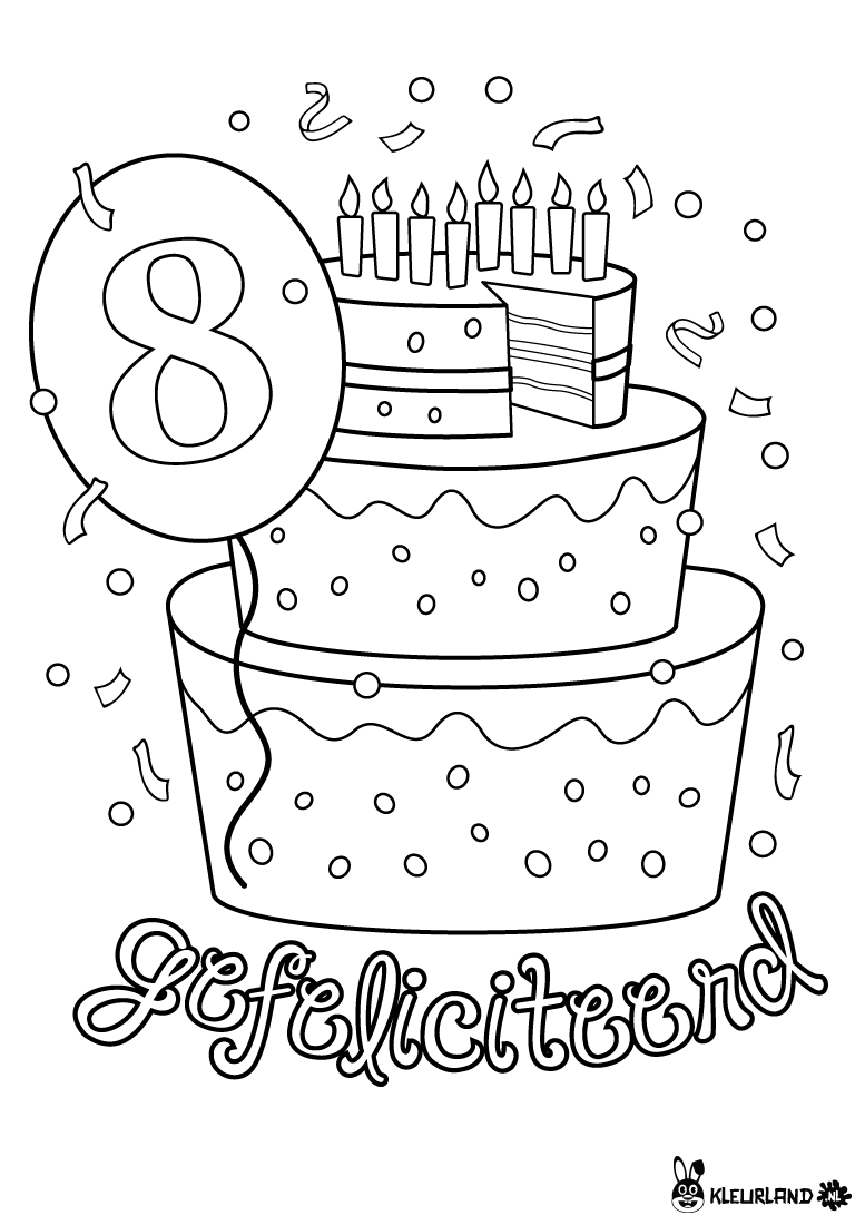 verjaardagstaart 8 jaar kleurplaten verjaardagsidee 235 n