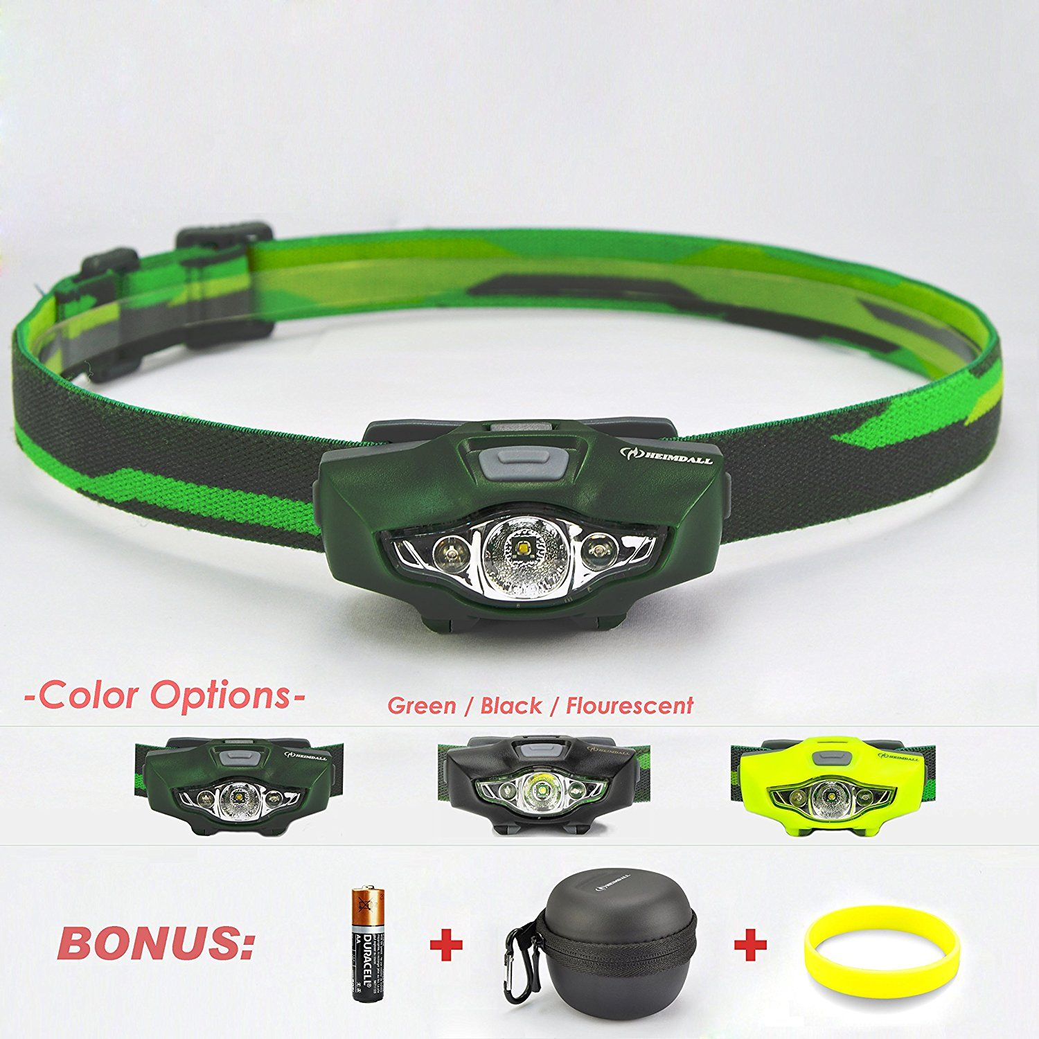 HEIMDALL Led Headlamp Flashlight with Red Light, Only 1.3 oz, 115 lumens, 1 AA Battery(included), 4 White
