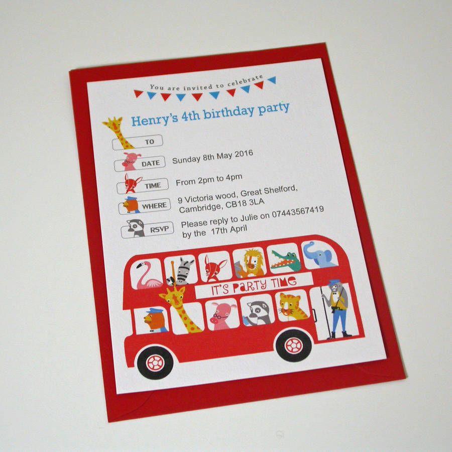 london bus children s party invitation party pinterest party