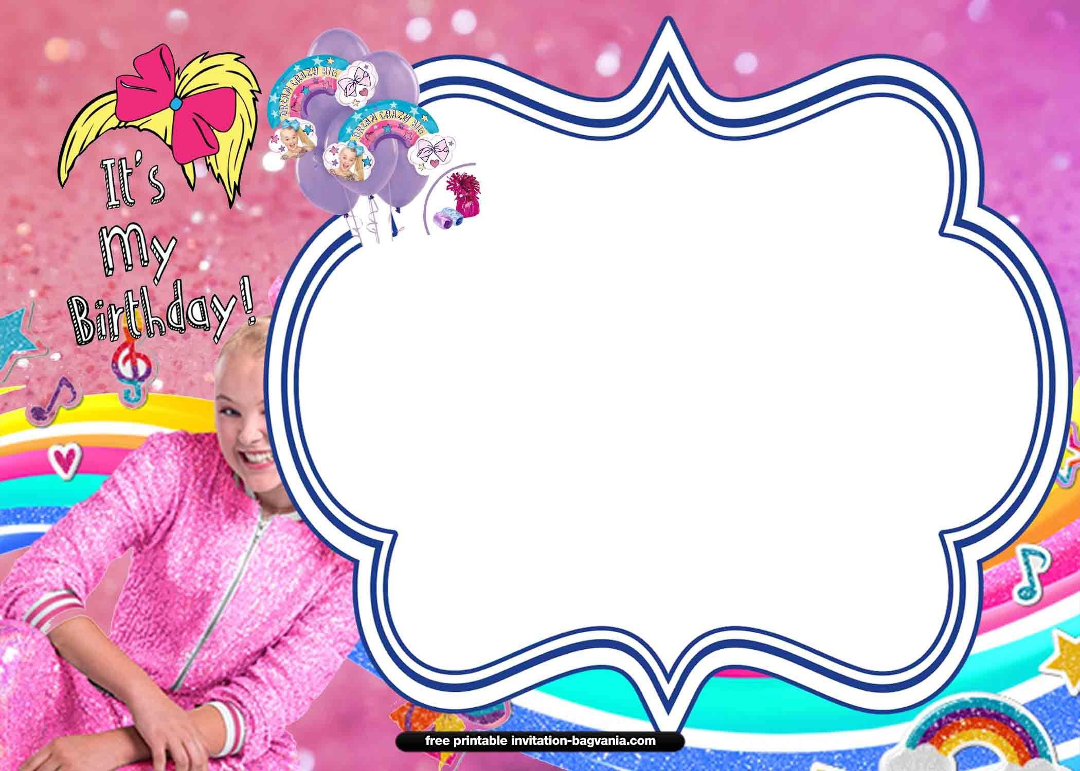 13 Free Jojo Siwa Invitation Templates Free Printable Birthday Invitations Printable Birthday Invitations Jojo Siwa Birthday