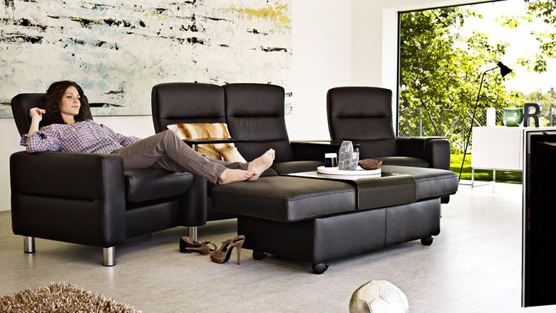 Stressless Home Theater Wave W Sector Arms And Double Ottoman