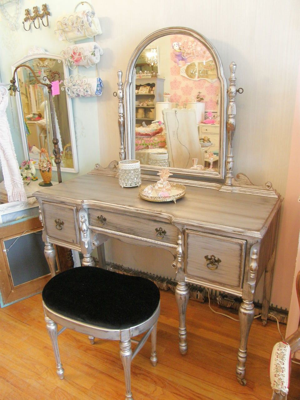 Omg silver distressed vanity and bench glam shabby chic antique