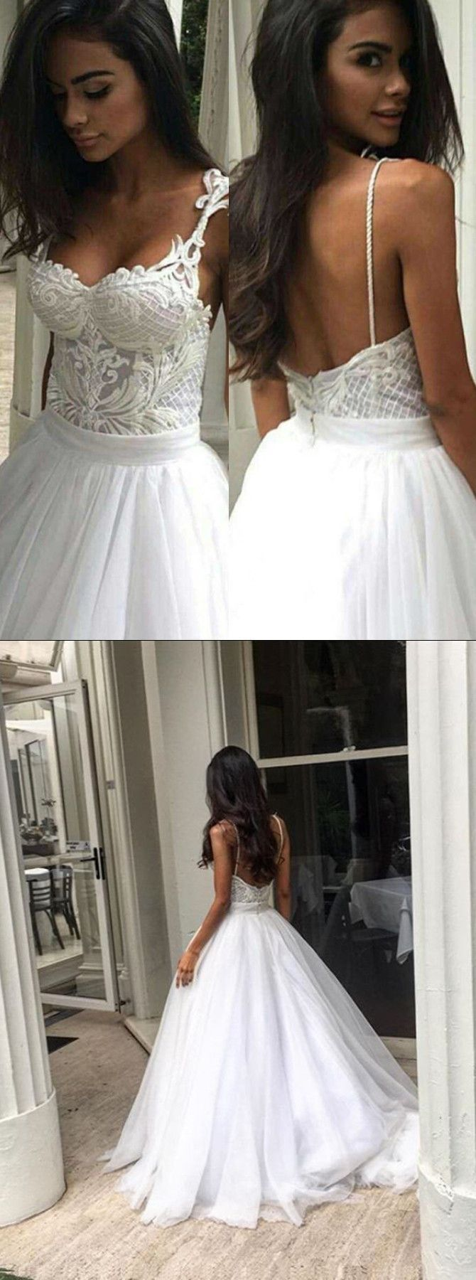 Elegant Sweep Train Backless Wedding Dress With Lace Top Spaghetti