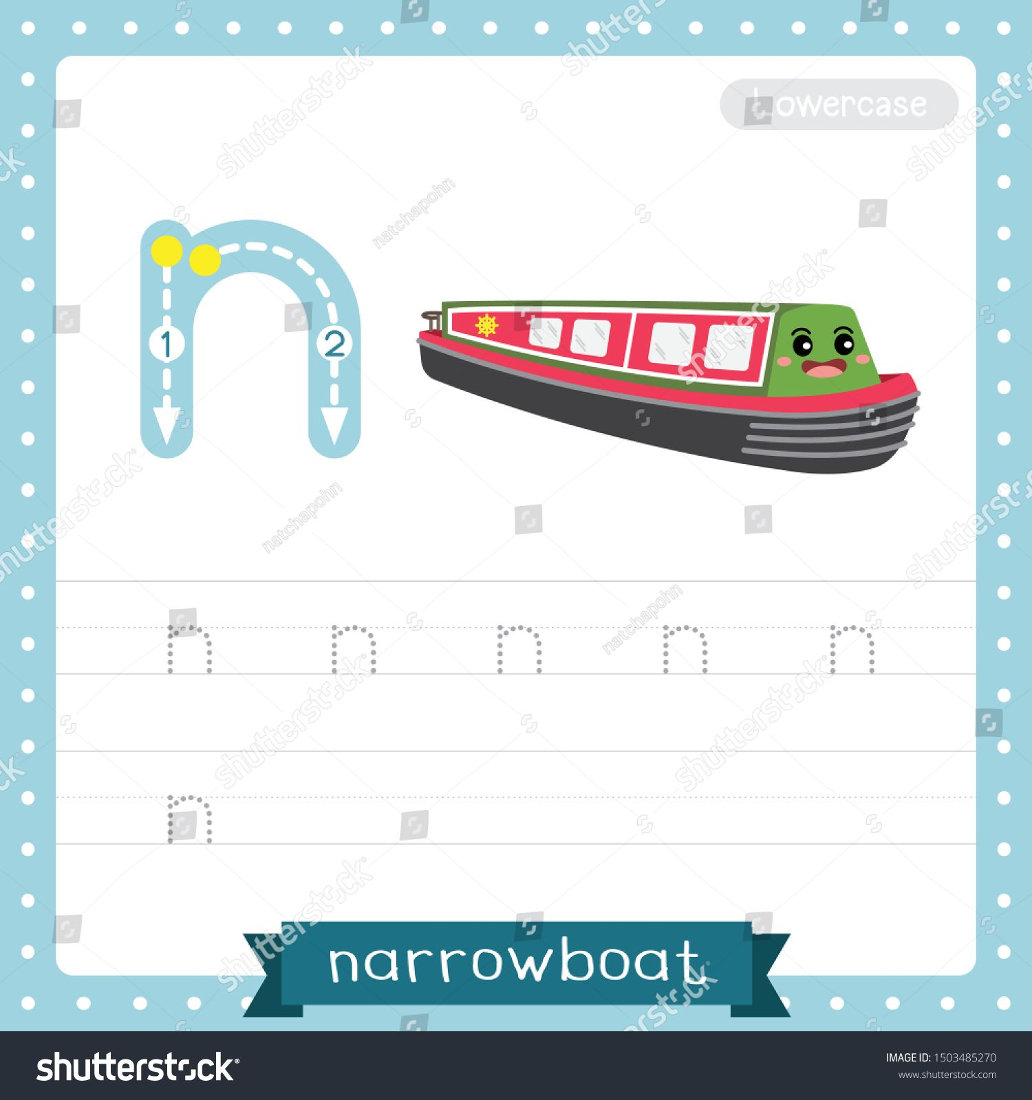 Letter N Lowercase Cute Children Colorful Transportations