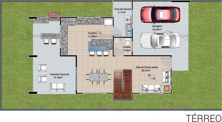 Planta de casa com varanda gourmet terreo casa sonho for Semplici piani per la casa del merluzzo cape