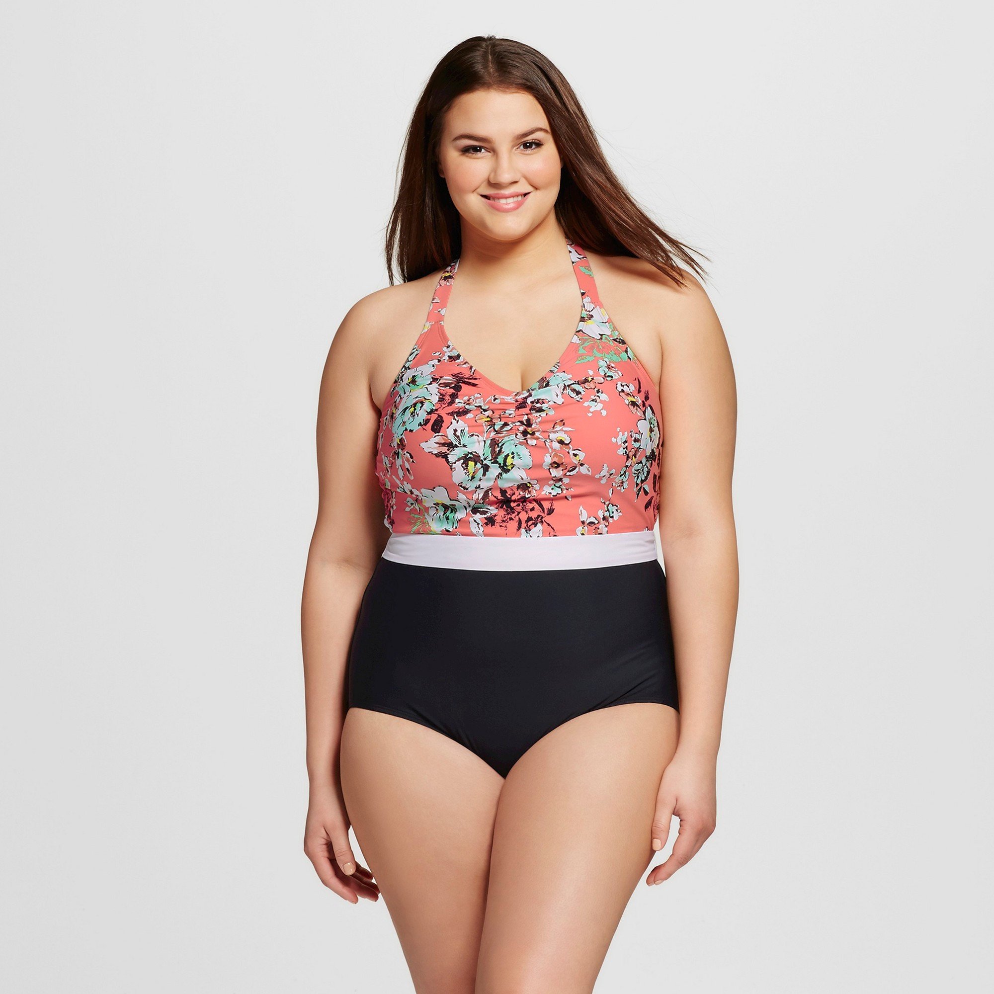 95d0b2f65be Women's Plus Size Vintage Floral Halter Maillot One Piece Swimsuit Coral  3X- Sea Angel, Size: 3XL, Pink