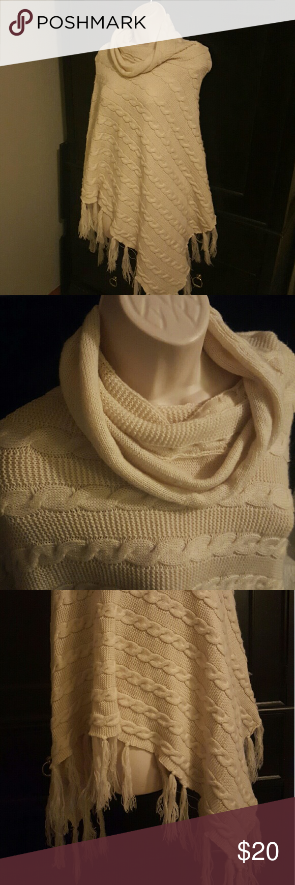 White Poncho No tags, bought at boutique  EUC Super cute, off white, sweater poncho Sweaters