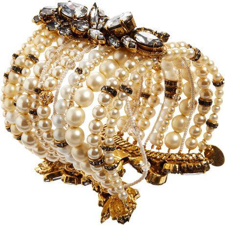 Erickson Beamon Gold, Pearl and Crystal Multi-Strand Bracelet
