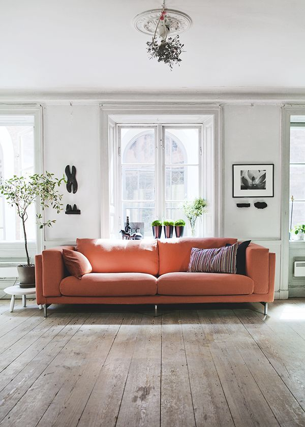 Simple Living Room With Natural Wood Floors, Orange Coral / Terracotta Sofa,  Large Windows, Lots Of Light, And Nice Use Of Green Plants. Part 69