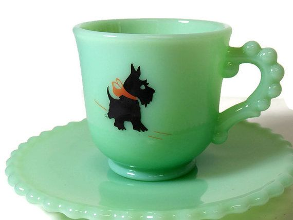 Mosser Glass Jadeite Cup And Saucer With Scottie Dog Cat Dishes Scottie Green Glass