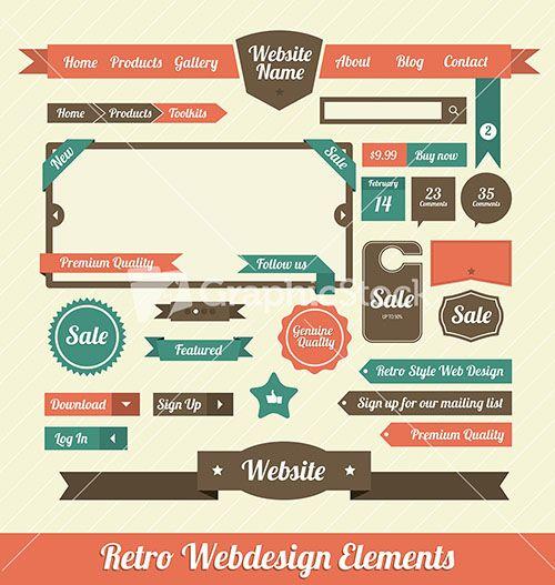 Retro Web Design Elements Stock Image