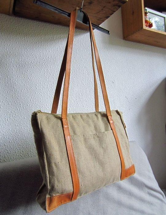 Vintage Leder & Leinen Shopper · Weekender · Reisetasche