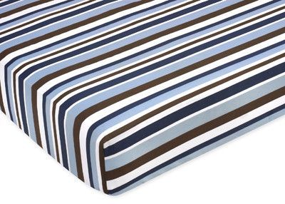 Starry Night Striped Fitted Crib Sheet