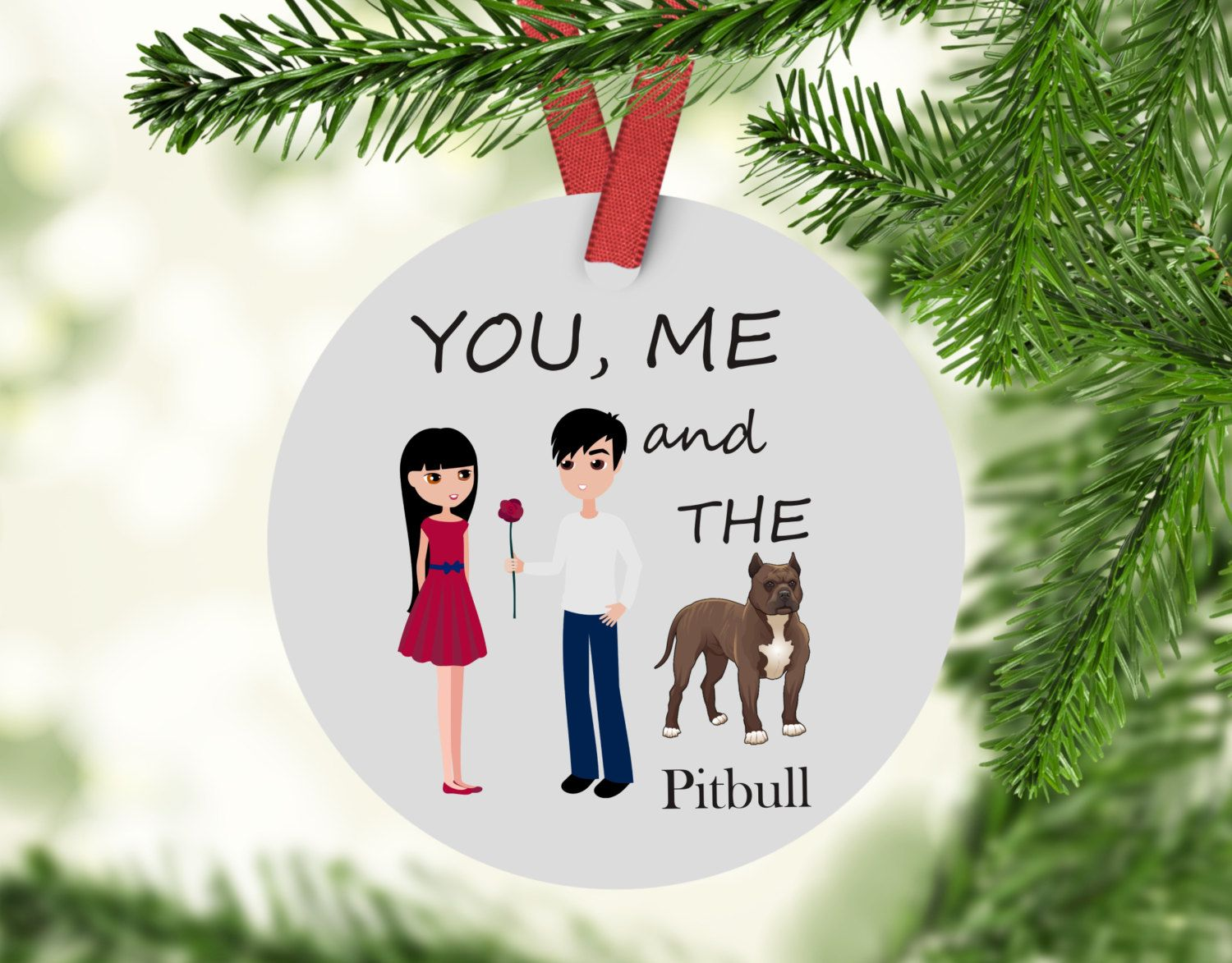 you me and the pitbull ornament pitbull christmas ornament pitbull american staffordshire terrier gift personalized christmas ornament by