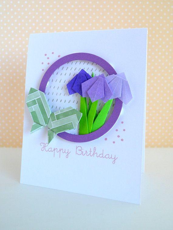 Цветы оригами на открытку