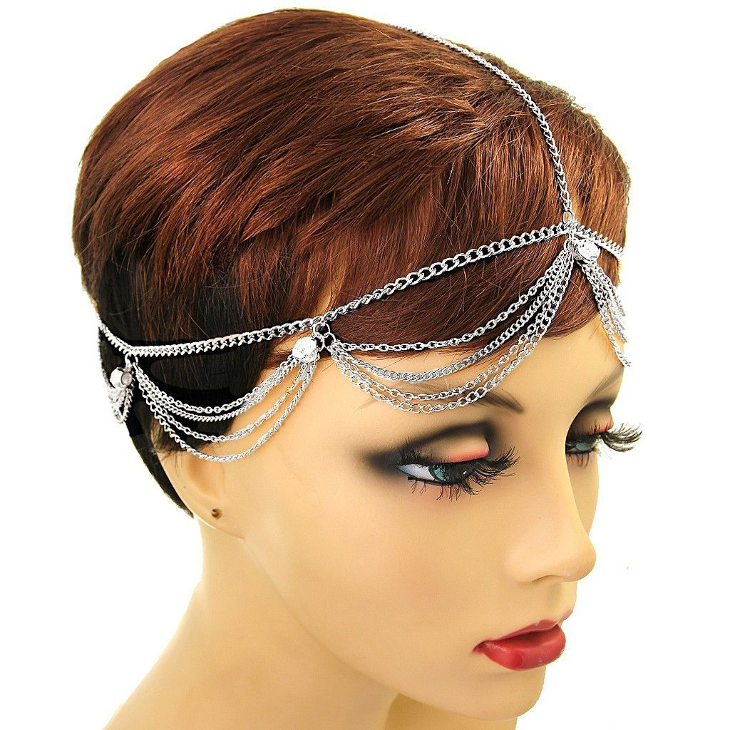Silver crystal tiered head chain sweet pinterest