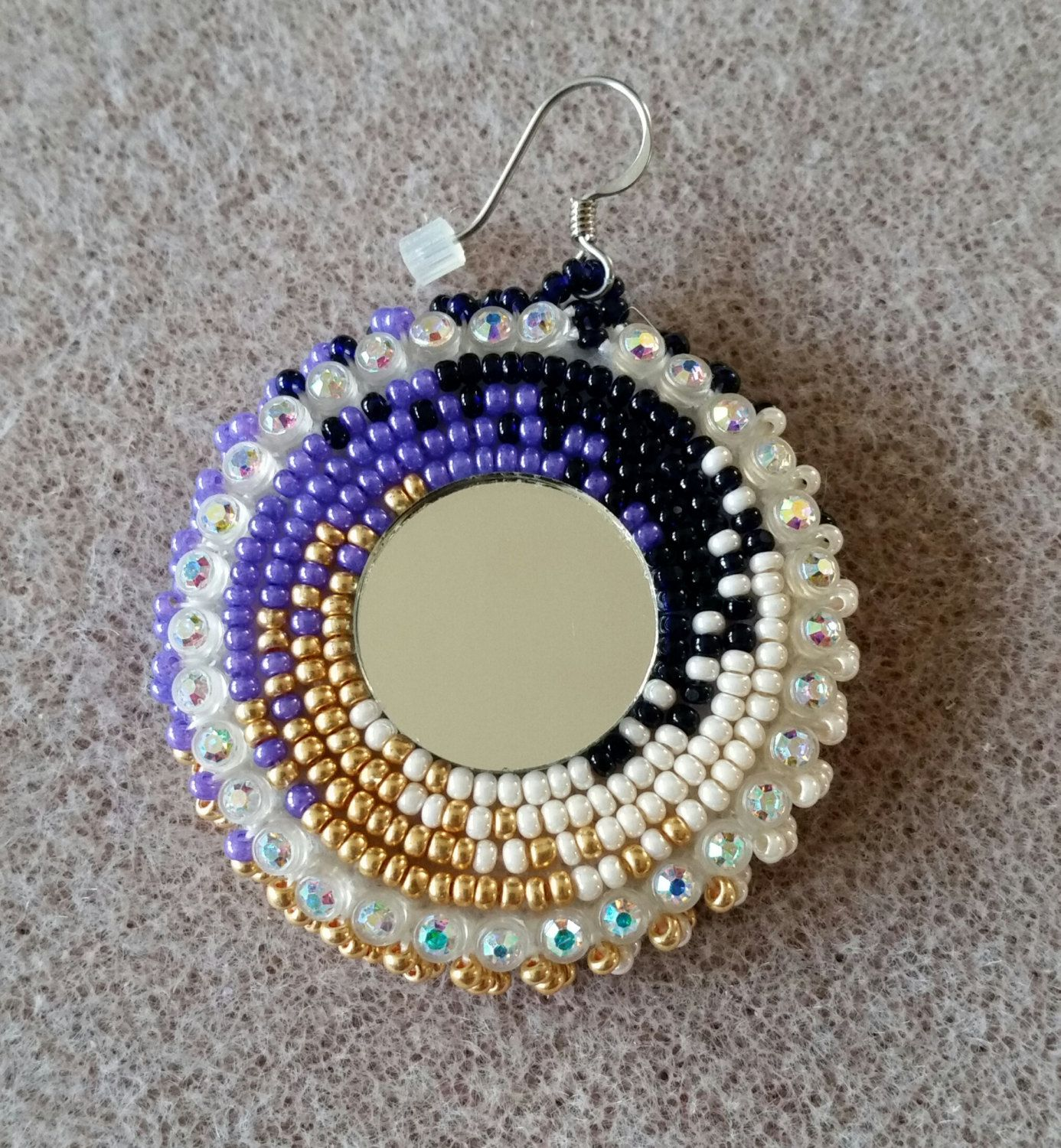 Native American Purple And Gold Beaded Earrings With Mirror By Aweyodesigns On Etsy