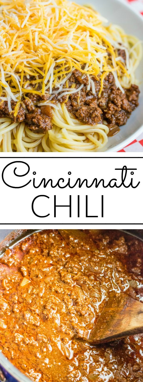 Chili Deliciously hearty this Cincinnati Chili is a unique chili recipe served over spaghetti and topped with cheese, onions or beans or a combination of the 5!Deliciously hearty this Cincinnati Chili is a unique chili recipe served over spaghetti and topped with cheese, onions or beans or a combination of the 5!