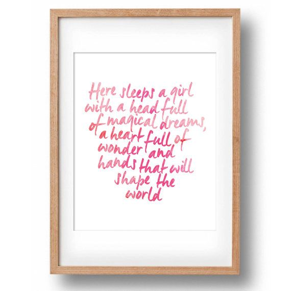 Hand Lettered Quote Girl/'s room wall decor Wall Decal for Girls Here sleeps a girl with a head full of magical dreams Wall Decal