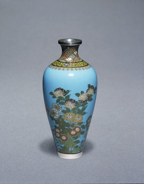 Cloisonné enamel vase decorated with flowers and geometric patterns, mark of Namikawa Yasuyuki, Kyoto, Japan, c.1875-80.