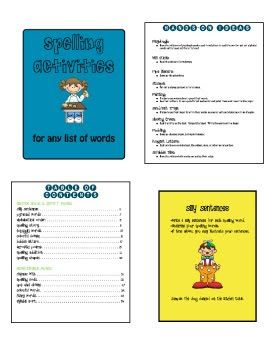 SPELLING ACTIVITIES TO USE W/ ANY WORD LIST