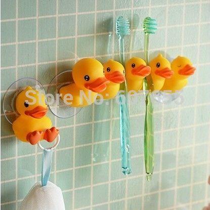 Free Shipping Cute Little Yellow Duck Toothbrush Holder 2 Types Sucker  Holder Bathroom Accessories Bathroom Set