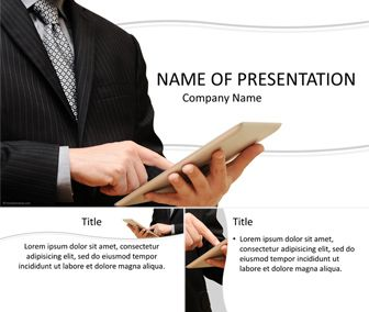Powerpoint template with businessman holding ipad and finger tapping powerpoint template with businessman holding ipad and finger tapping on the screen this theme will toneelgroepblik Image collections