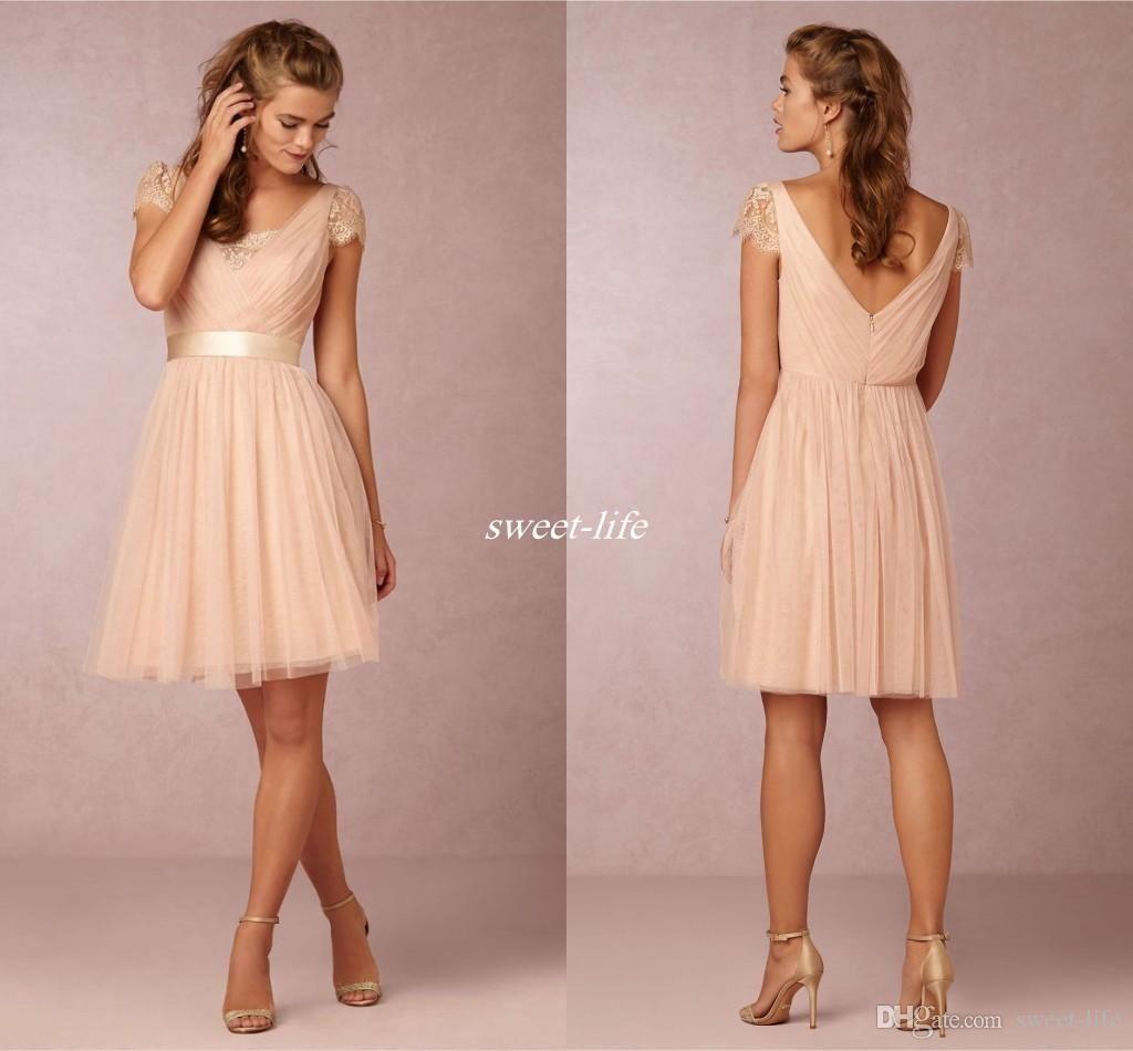 Cheap Blush Pink Short Bridesmaid Dresses Short Sleeve Backless Sash ...