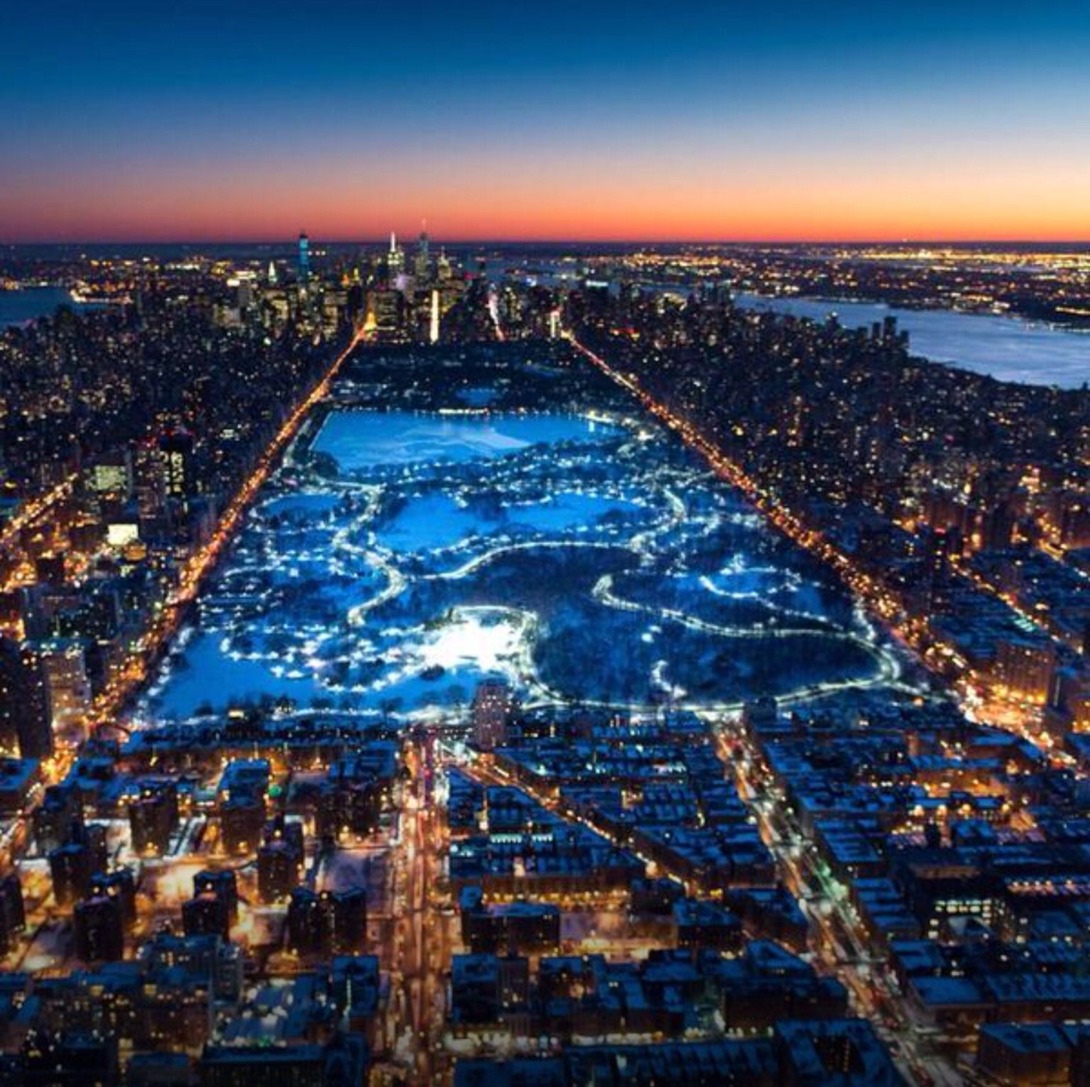 """Central Park New York: """"Central Park At Night From Above By @paulganun #nyc """""""
