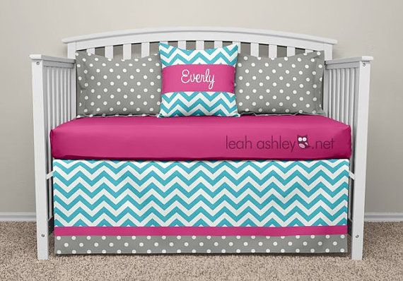 Crib Bedding Set Hot Pink Turquoise Gray Ella By Leahashleyokc
