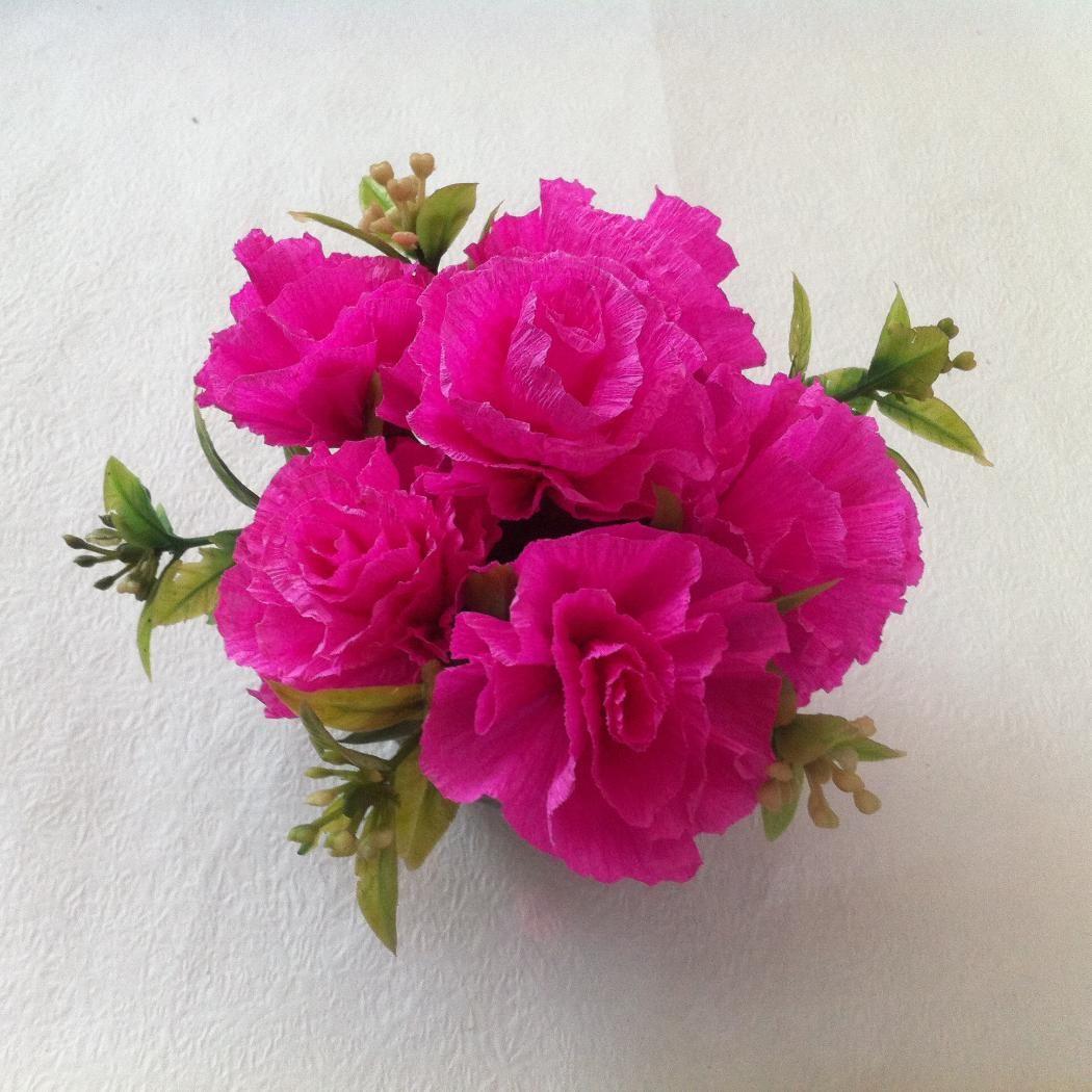 Diy Crepe Paper Carnation Flower Beautiful Centerpiece Flower Idea