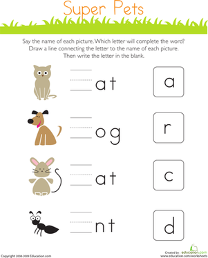 The Animals Are Missing The First Letter In Their Names Kids Completing This Preschool Worksheets Free Kindergarten Worksheets Letter Worksheets For Preschool