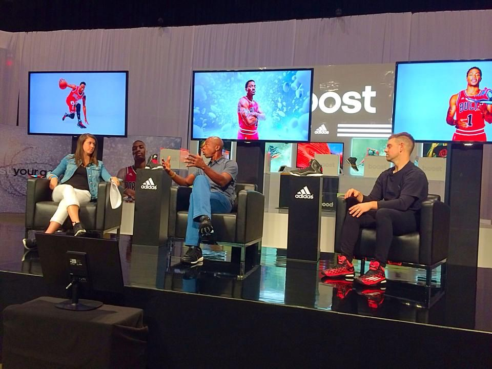 Consulting Director, Melissa Conrad working hard at the adidas Basketball Boost Launch Event rehearsal.
