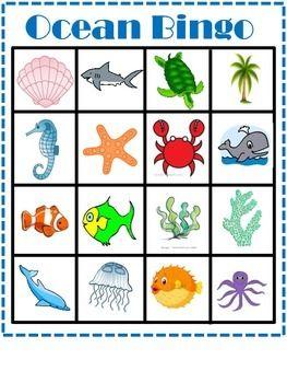 Ocean Animal Bingo Free Ocean Printables Ocean Theme Classroom