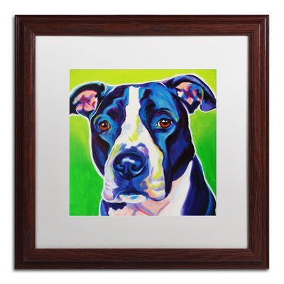 "Trademark Art 'Sadie' by DawgArt Framed Painting Print Size: 16"" H x 16"" W"