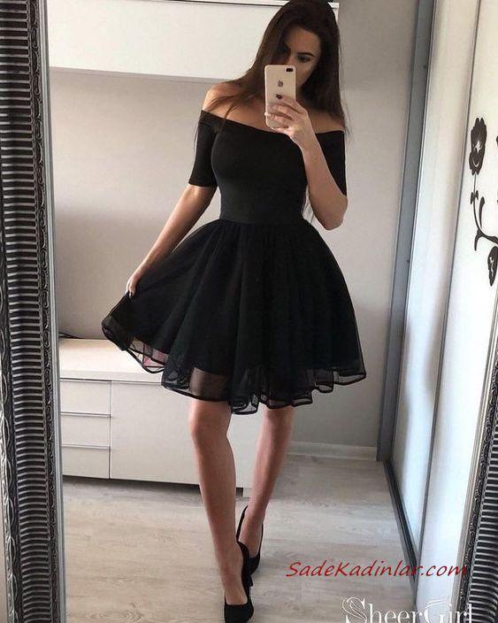 2020 Kisa Klos Abiye Elbiseleri Siyah Omzu Acik Dusuk Kisa Kollu Balo Elbiseleri Elbise Mezunlar Gecesi Elbiseleri